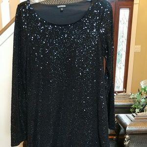 Black sequin long sleeve dress